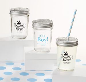 Welcome Baby Boy Personalized Baby Shower Mason Jars with Daisy Drink Lids (Printed Glass)