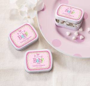 Welcome Baby Girl Personalized Baby Shower Mint Tins with Candy (Printed Label)