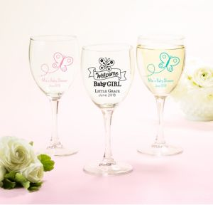 Welcome Baby Girl Personalized Baby Shower Wine Glasses (Printed Glass)