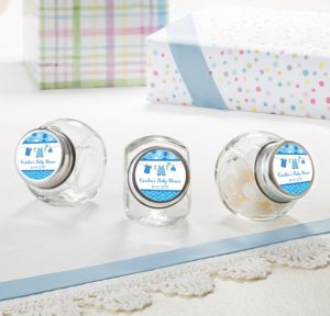 It's a Boy Personalized Baby Shower Glass Candy Jars (Printed Label)