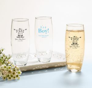 It's a Boy Personalized Baby Shower Stemless Champagne Flutes (Printed Glass)