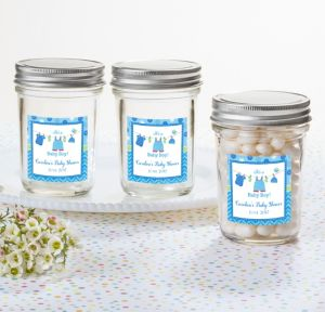 It's a Boy Personalized Baby Shower Mason Jar with Solid Lid (Printed Label)