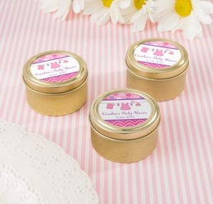 It's a Girl Personalized Baby Shower Round Candy Tins - Gold (Printed Label)