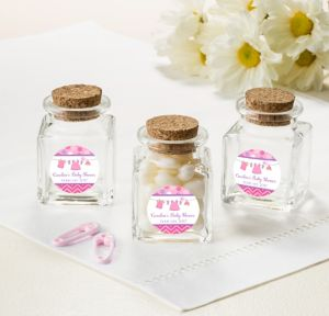 It's a Girl Personalized Baby Shower Small Glass Bottles with Corks (Printed Label)