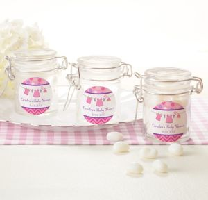 It's a Girl Personalized Baby Shower Small Glass Jars (Printed Label)