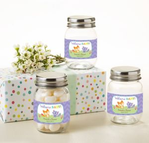 Woodland Personalized Baby Shower Mini Glass Mason Jars (Printed Label)