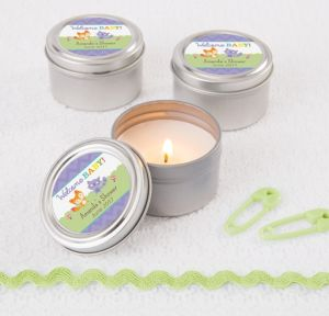 Woodland Personalized Baby Shower Candle Tins (Printed Label)