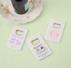 Woodland Personalized Baby Shower Credit Card Bottle Openers - White (Printed Plastic)