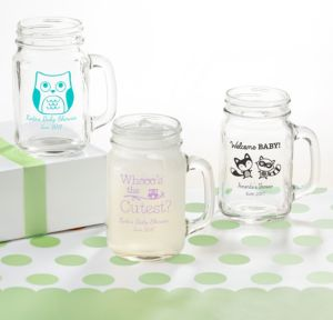 Woodland Personalized Baby Shower Mason Jar Mugs (Printed Glass)