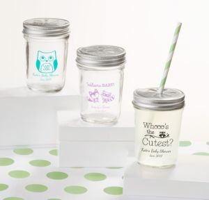 Woodland Personalized Baby Shower Mason Jars with Daisy Drink Lids (Printed Glass)