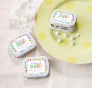 Bright Chevron Personalized Baby Shower Mint Tins with Candy (Printed Label)