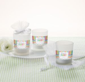 Bright Chevron Personalized Baby Shower Glass Votive Candle Holders (Printed Label)