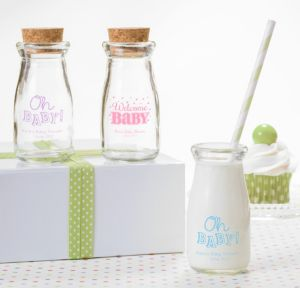 Bright Chevron Personalized Baby Shower Glass Milk Bottles (Printed Glass)