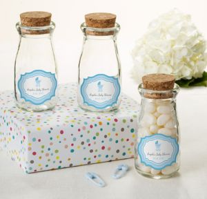 Blue Stroller Personalized Baby Shower Glass Milk Bottles with Corks (Printed Label)