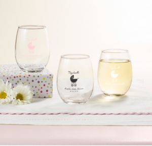 Pink Stroller Personalized Baby Shower Stemless Wine Glasses 9oz (Printed Glass)