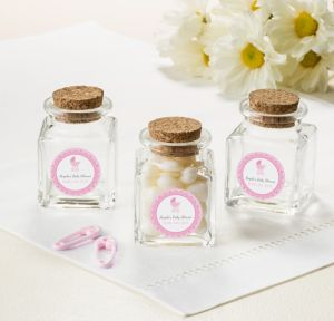Pink Stroller Personalized Baby Shower Small Glass Bottles with Corks (Printed Label)
