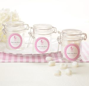 Pink Stroller Personalized Baby Shower Small Glass Jars (Printed Label)