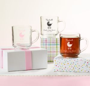 Pink Stroller Personalized Baby Shower Glass Coffee Mugs (Printed Glass)