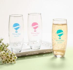 Up Up Away Personalized Baby Shower Stemless Champagne Flutes (Printed Glass)