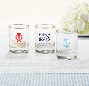 Ahoy Nautical Personalized Baby Shower Shot Glasses (Printed Glass)