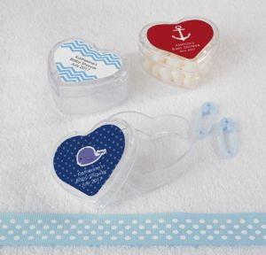 Ahoy Nautical Personalized Baby Shower Heart-Shaped Plastic Favor Boxes (Printed Label)