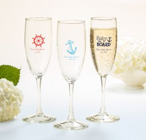 Ahoy Nautical Personalized Baby Shower Champagne Flutes (Printed Glass)
