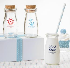 Ahoy Nautical Personalized Baby Shower Glass Milk Bottles (Printed Glass)