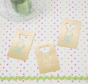 Bubble Bath Personalized Baby Shower Credit Card Bottle Openers - Gold (Printed Metal)