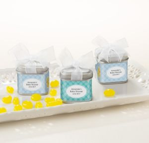 Bubble Bath Personalized Baby Shower Favor Tins with Bows (Printed Label)