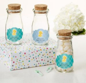 Bubble Bath Personalized Baby Shower Glass Milk Bottles with Corks (Printed Label)