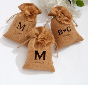 Personalized Burlap Favor Bags <br>(Printed Fabric)</br>