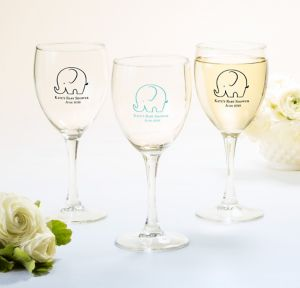 Little Peanut Boy Personalized Baby Shower Wine Glasses (Printed Glass)