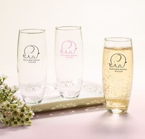 Little Peanut Girl Personalized Baby Shower Stemless Champagne Flutes (Printed Glass)
