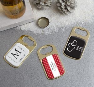 Personalized Bottle Openers - Gold <br>(Printed Epoxy Label)