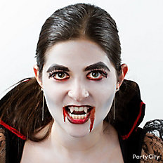 Add vampire fangs and blood