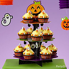 Friendly Candy Corn Ghost Cupcakes