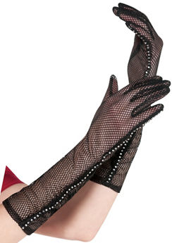 Black Mesh Gloves with Rhinestone Trim