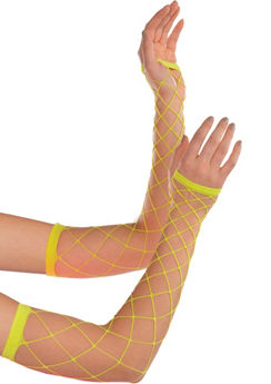 Neon Fishnet Arm Warmers