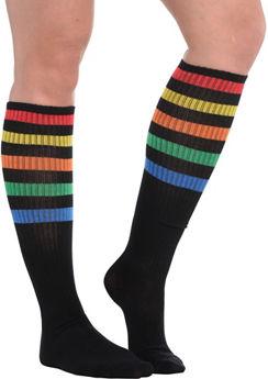 Rainbow Stripe Athletic Knee-High Socks