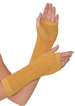 Long Gold Fishnet Gloves Deluxe