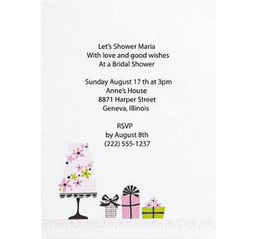 Enchanted Cake Printable Bridal Shower Invitations 12ct