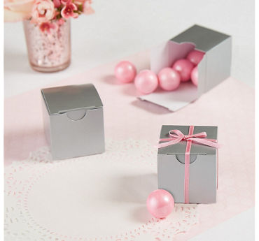 Silver Square Favor Boxes