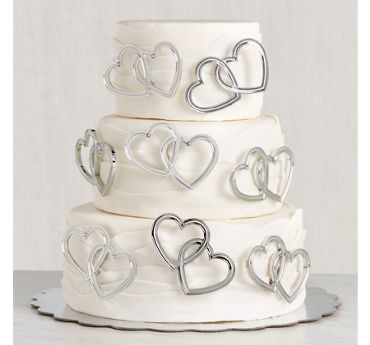 Double Heart Wedding Cake Picks 12ct