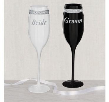 Rhinestone Bride & Groom Wedding Toasting Glasses 2ct