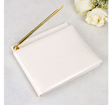 Ivory Wedding Guest Book with Pen