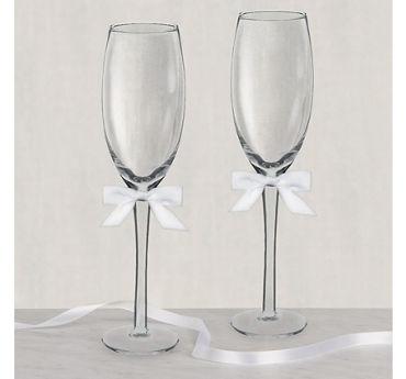 White Bow Wedding Toasting Glasses 2ct