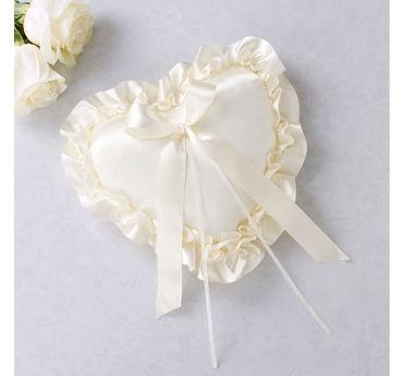 Ivory Heart Ring Bearer Pillow