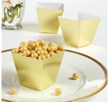 Gold Scalloped Favor Boxes 100ct