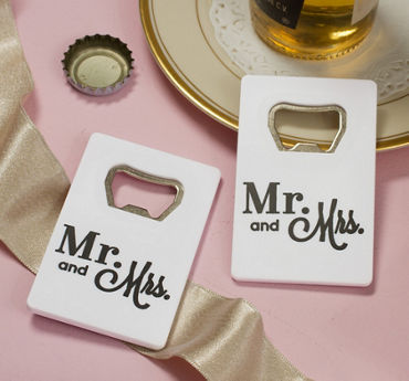White Mr. & Mrs. Credit Card Bottle Opener
