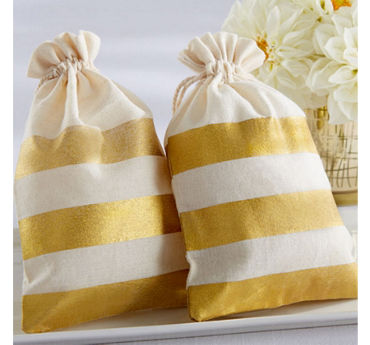 Gold Stripe Muslin Favor Bags